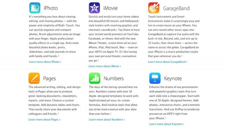 Apple сделала бесплатными приложения изпакетов iLife иiWork