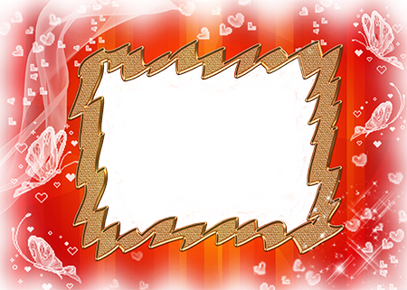 Золотая рамка для фото в обрамлении белых бабочек и сердечек