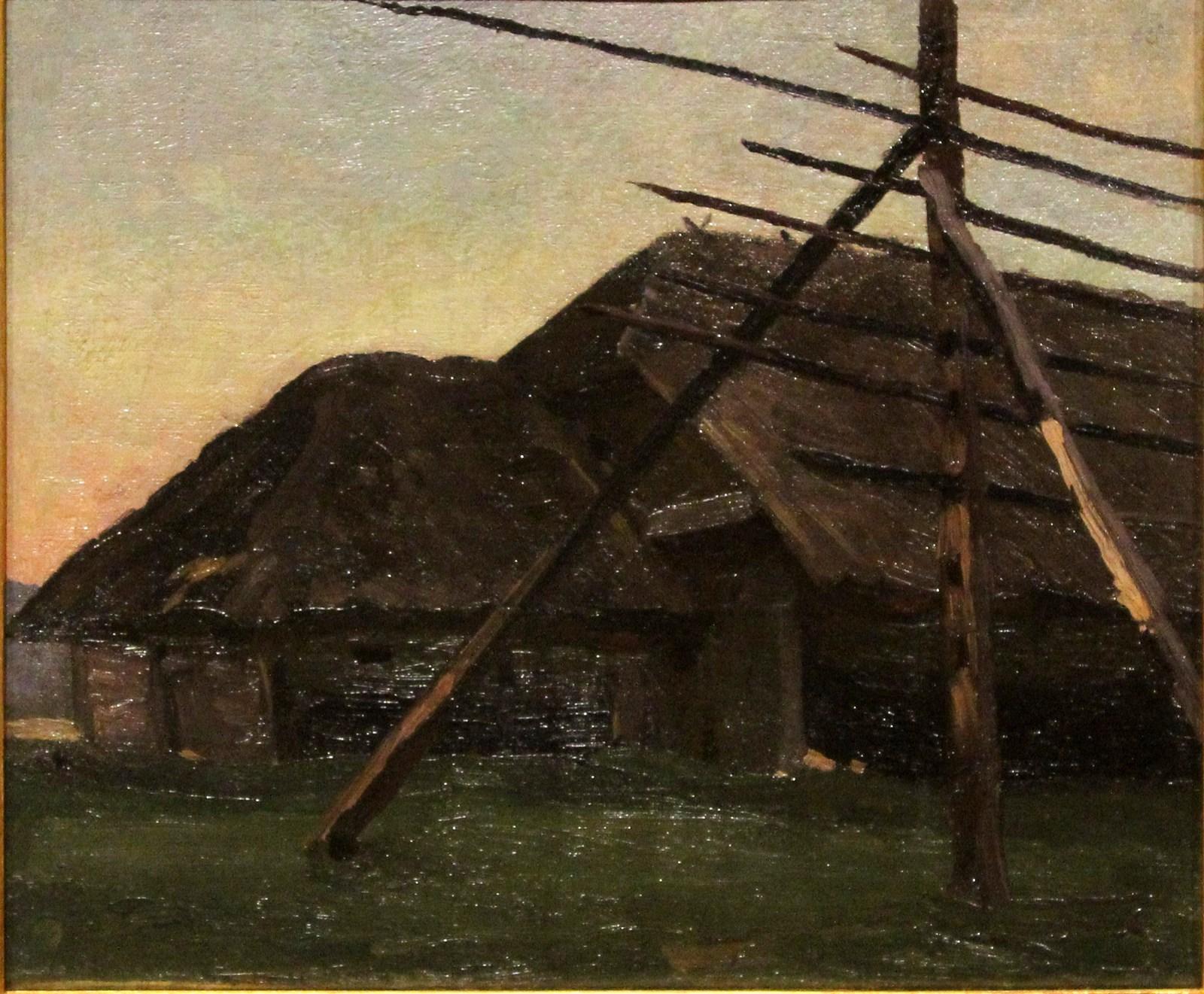 Рущиц Фердинанд. 1870-1936 Сараи и прясло для сена. 1899 Холст, масло. Из корпоративной коллекции Белгазпромбанка