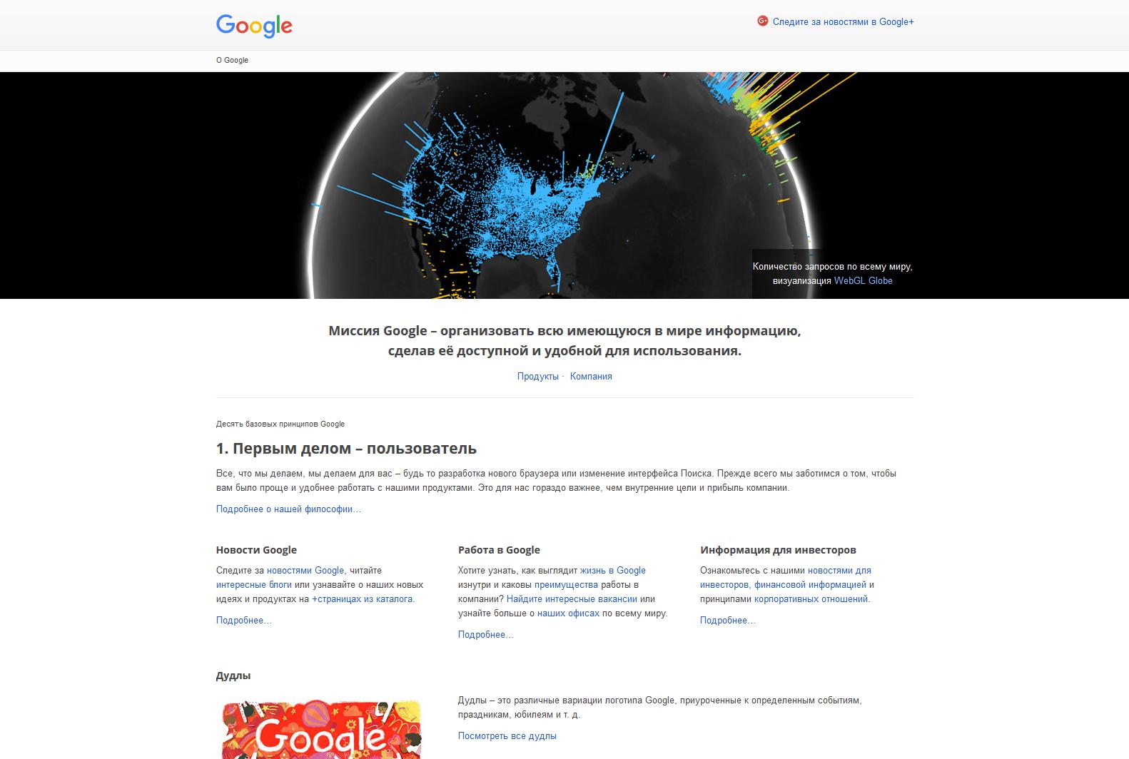 презентационная страница Google