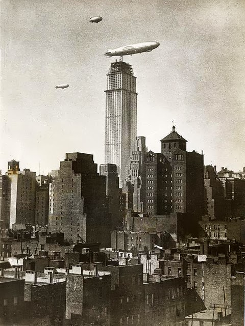 Zeppelin docking at a still under construction Empire State Building NYC, 1930.jpg