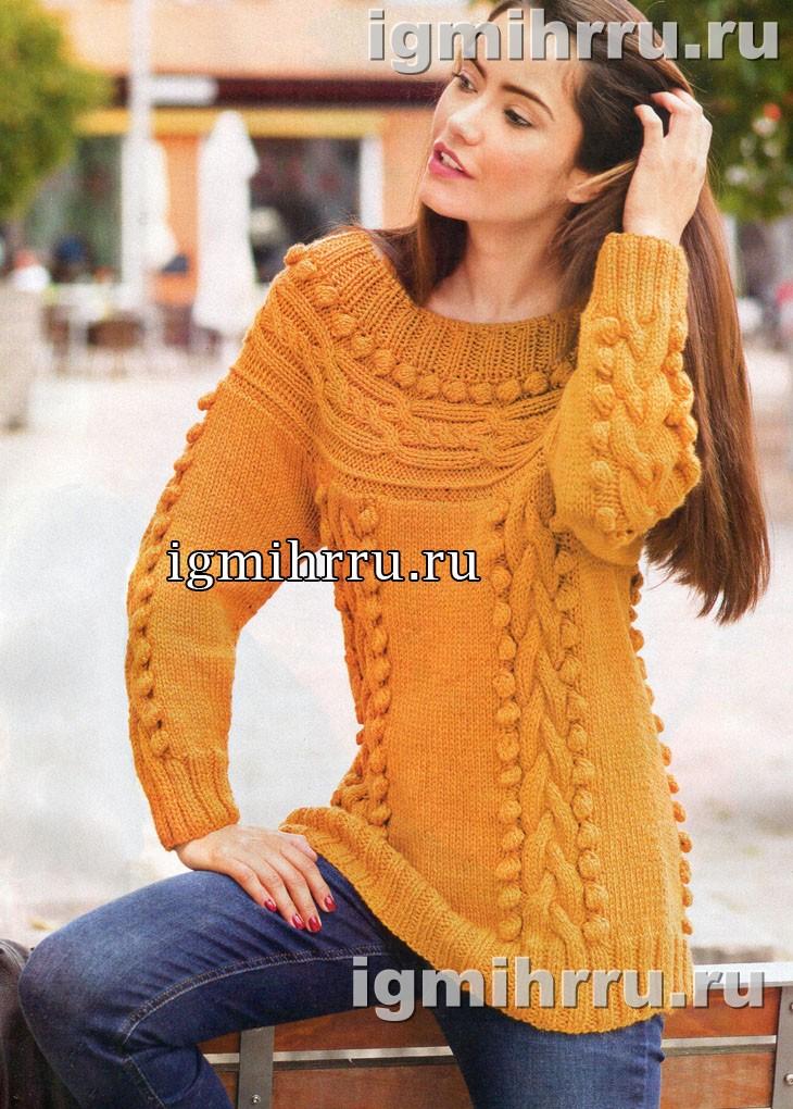 Оранжевый пуловер с круглой поперечной кокеткой. Вязание спицами