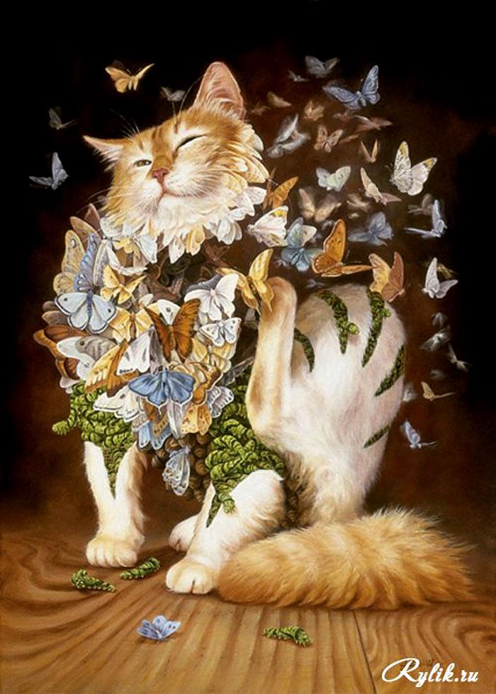 Открытка кошка с бабочками, днем рождения
