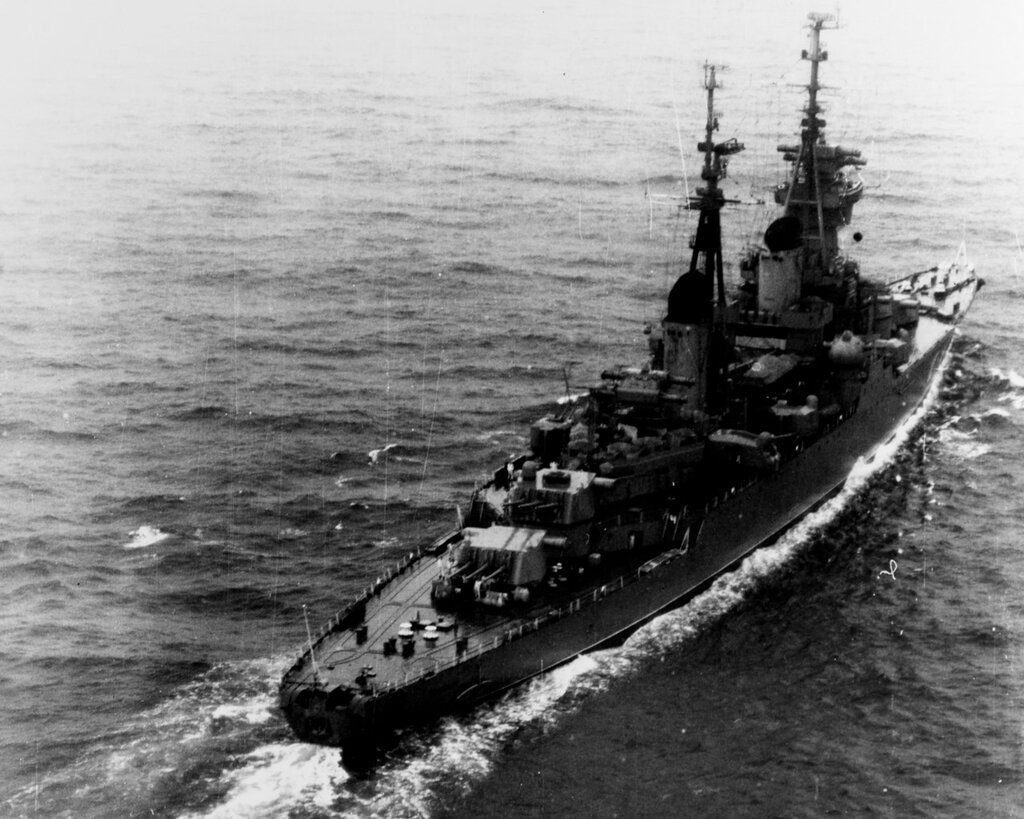 SVERDLOV (Soviet Cruiser) Photographed at 1246 hours Zulu time 14 October 1965, while in position 36-22 North, 003-54 west, moving eastward in the Western Mediterranean Sea.