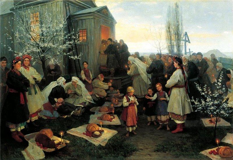 Н. К. Пимоненко. Пасхальная заутреня в Малороссии. 1891