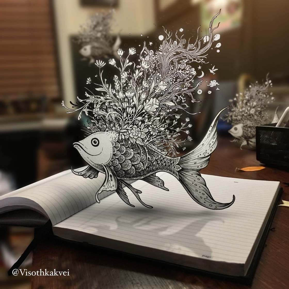 The beautiful augmented doodles by Visothkakvei