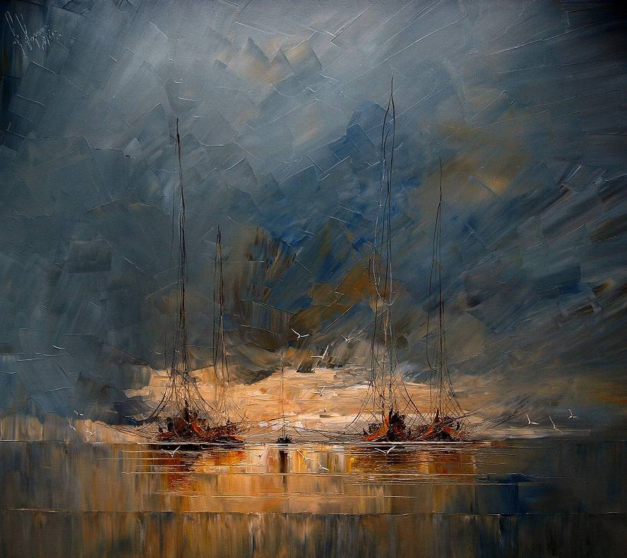 Melancholic Paintings of Seascapes and Vintage Ships