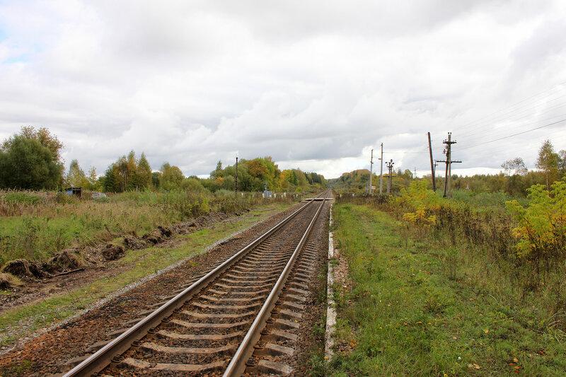 Бывшая станция Сменово, вид на переезд и Сонково