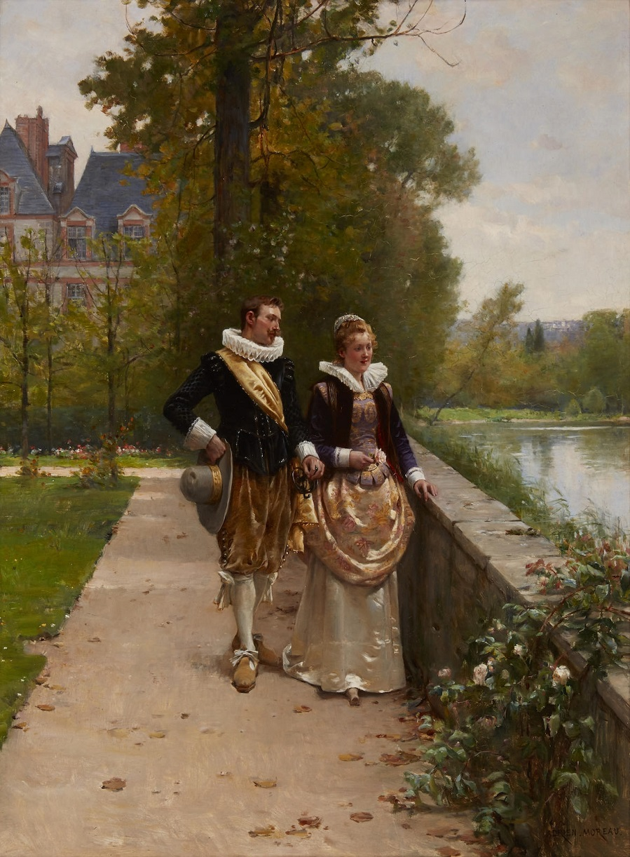 Adrien Moreau Elegant figures strolling in the park