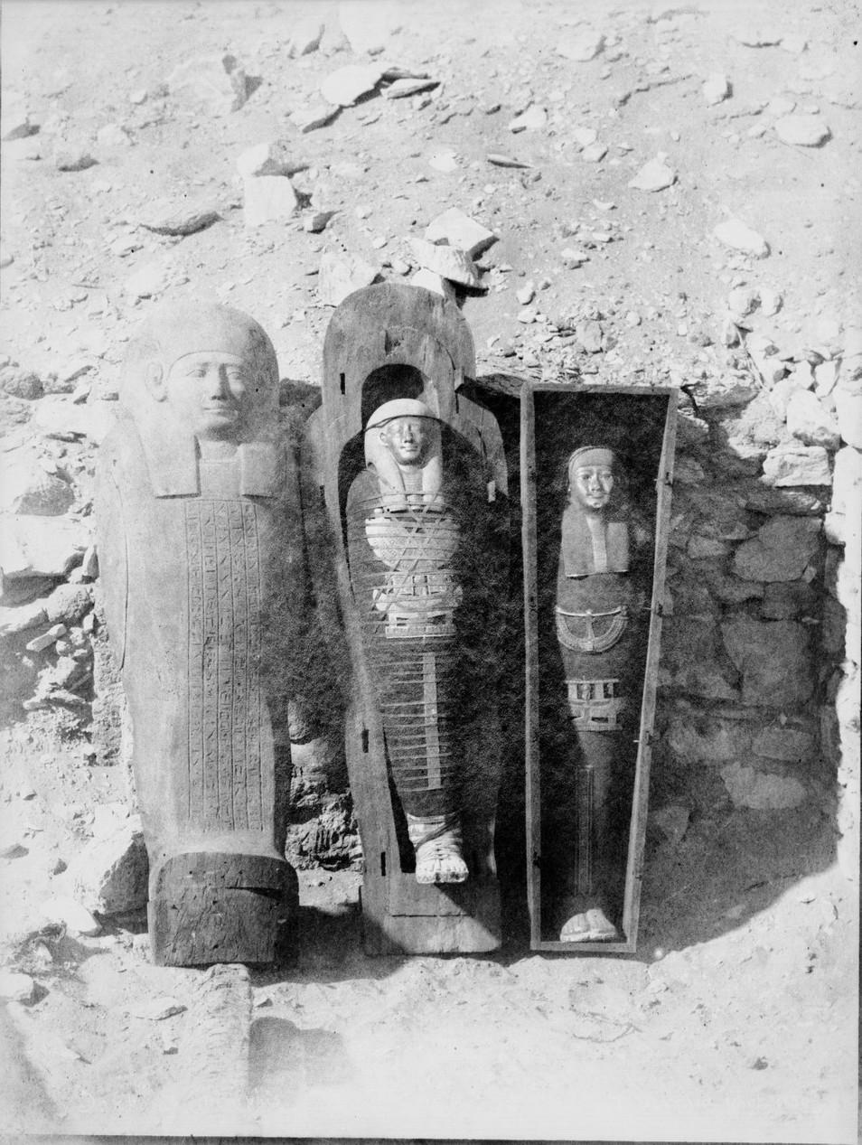Саккара. Мумии в саркофагах