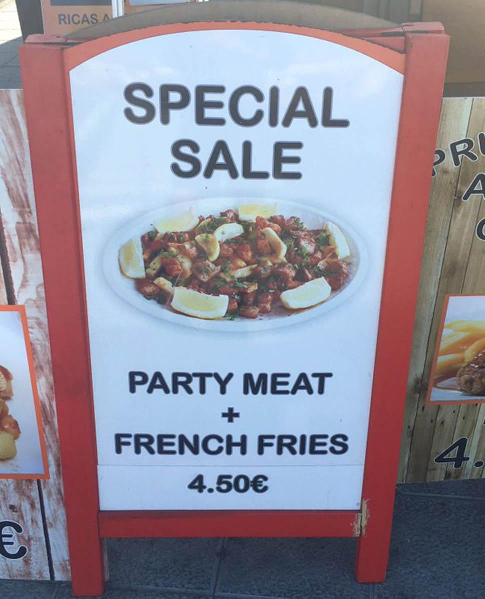 Местная кухня в реальной жизни. «Специальное предложение. Праздничное мясо + картофель фри за 4,50 е