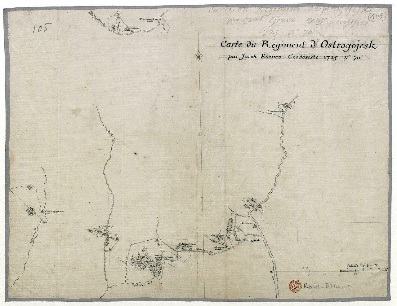 Карта земель Острогожского слободского казацкого полка, составленная в 1725 году геодезистом Яковом Есеневым