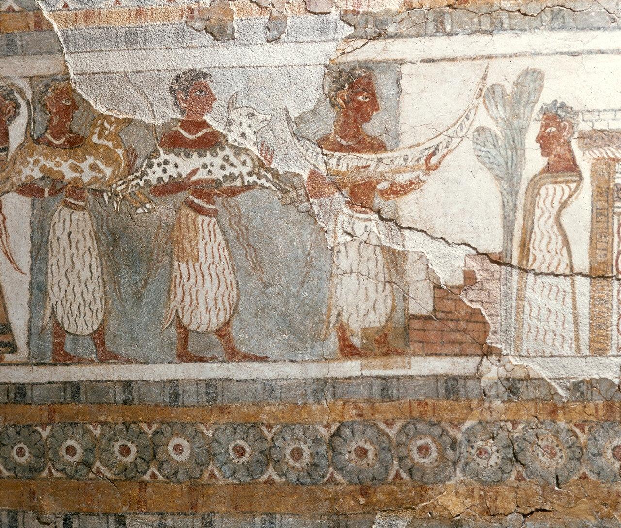Ираклион. Археологический музей. Саркофаг из Агиа Триады со сценами обряда погребения — «трапезы мёртвых». 1400 г. до н. э.