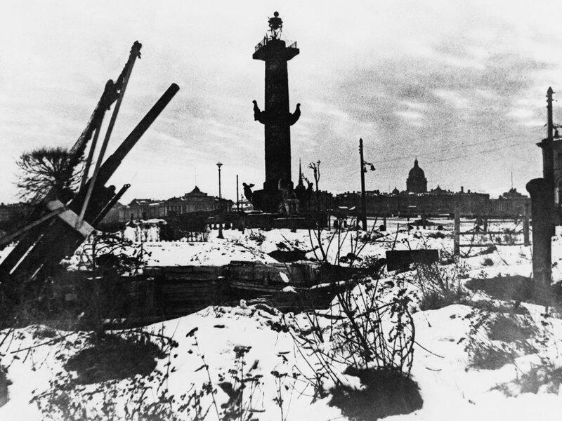 Позиция батареи 76-мм зенитных пушек обр. 1938 г. на Стрелке Васильевского острова