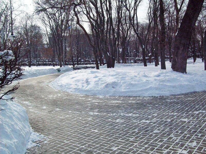 Дорожки парка Славы зимой