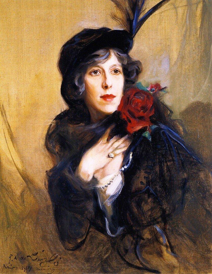 Baroness Conrad de Meyendorff née Nadine Vladimirovna Lougounine, by Philip de László, 1914.