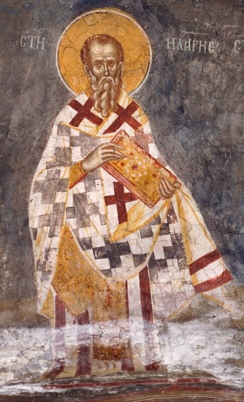 Святитель Иларион, Епископ Меглинский. Фреска монастыря Высокие Дечаны, Косово, Сербия. Около 1350 года.
