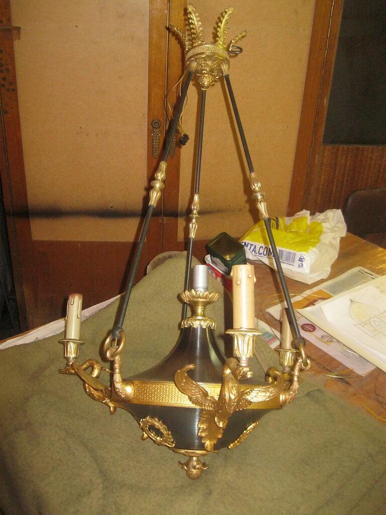 Изготовление люстры на 3 светоточки в стиле ампир.