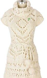 Белое платье - модель из толстой пряжи Наши воплощения