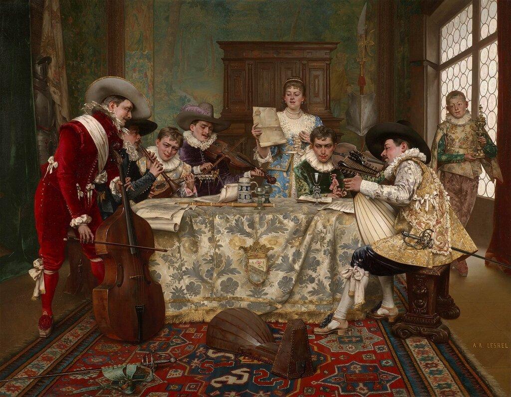 Adolphe Alexandre Lesrel - The practice recital - 40261-20.jpg