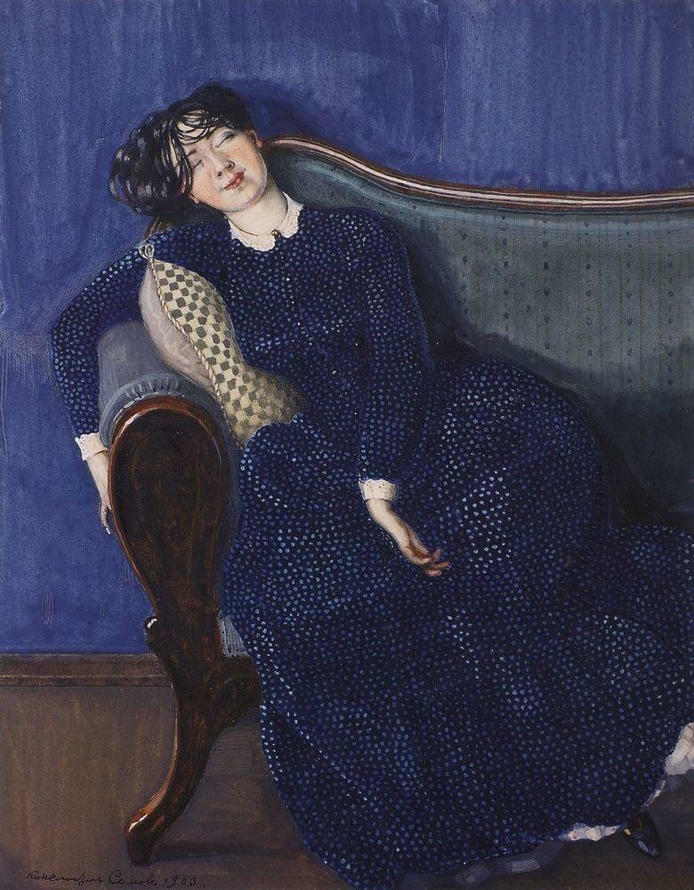 Спящая женщина в синем платье. 1903.jpg