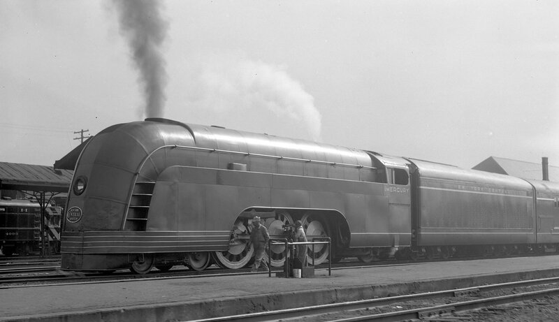 New York Central streamlined locomotive 'Mercury', engine number 4915, engine type 4-6-2, Toledo, Ohio, August 9, 1936