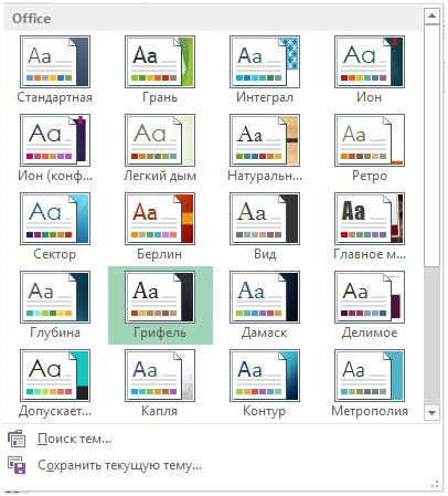 Рис. 10.3. Встроенные варианты тем Excel