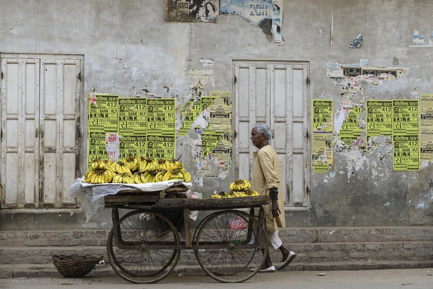 Фотография 15. Продавец бананов на улице в Варанаси. Фоторепортажи из путешествия по Индии дикарями. 1/1000, 2.8, 250, 60.