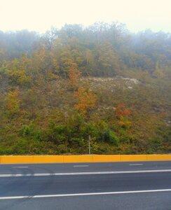 Октябрь 2014, туризм, Кубань, утро, дорога в Горячий Ключ, туман