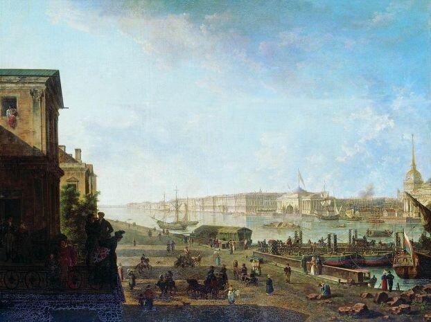 Вид на Адмиралтейство и Дворцовую набережную от Первого кадетского корпуса. 1810-е