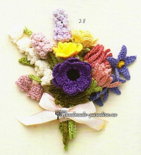 Миниатюрные букетики цветов крючком. Схемы (5)