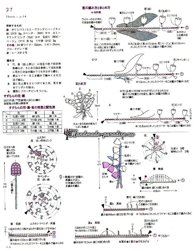 Миниатюрные букетики цветов крючком. Схемы (10)