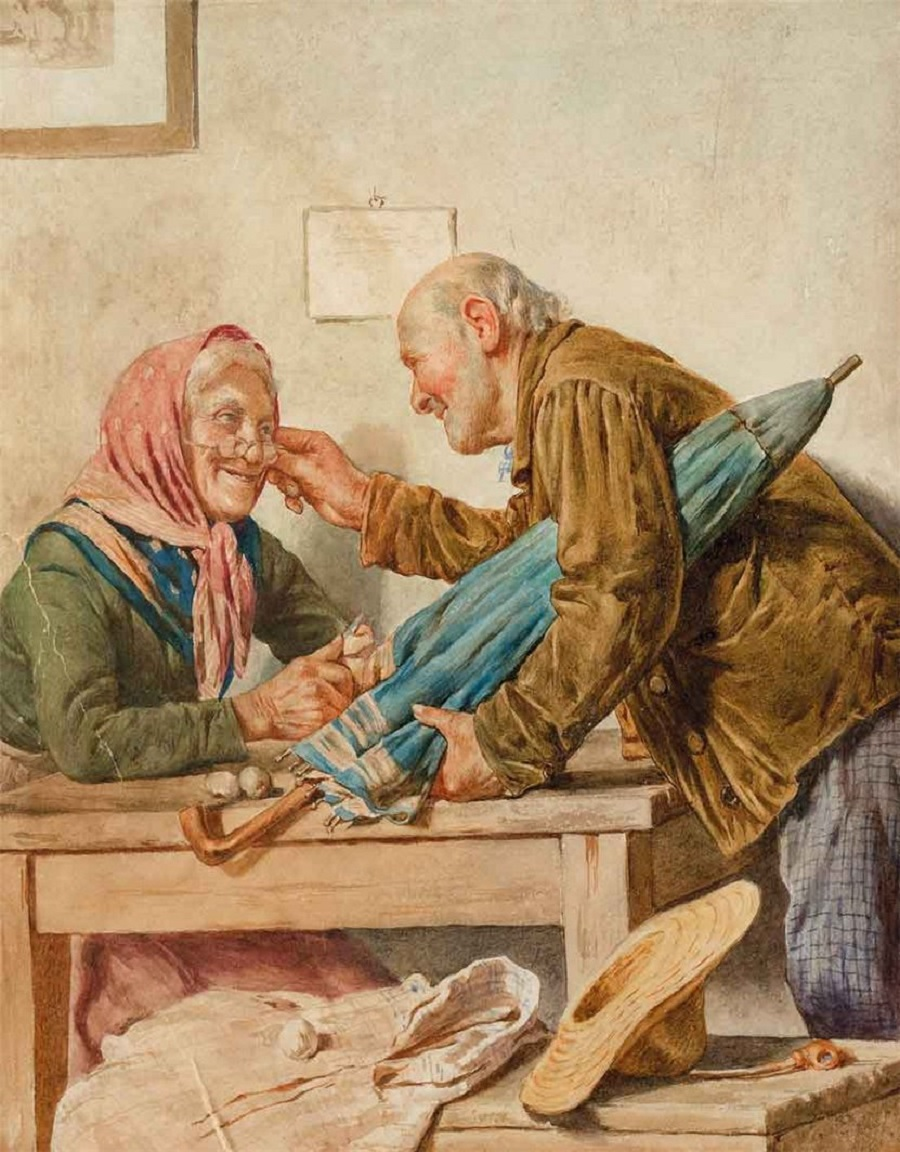 Image result for Una buona nuova (Good News) Painting by Pompeo Massani, in Florence,