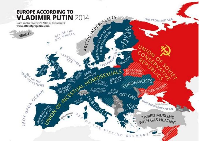 Карта Европы глазами Путина
