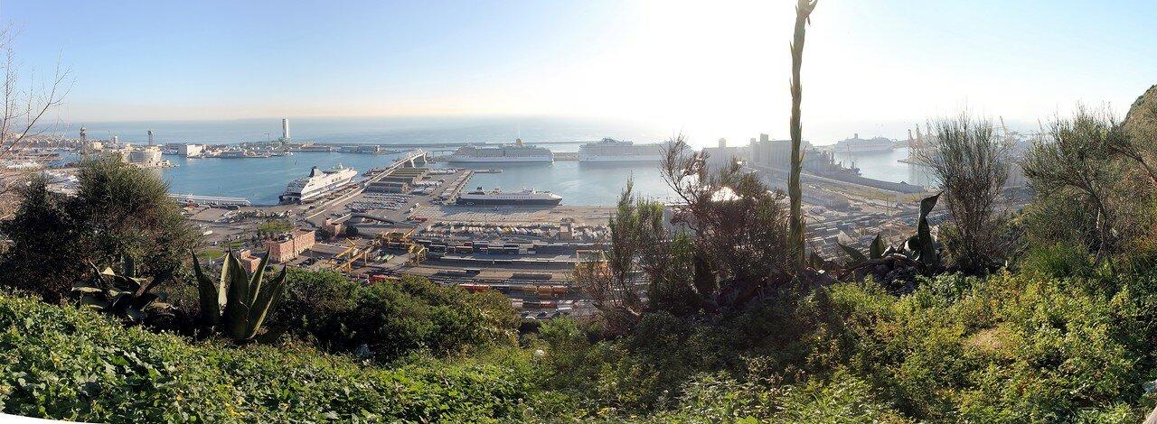 Круизный порт Барселоны. Вид с обзорной площадки Алькальде
