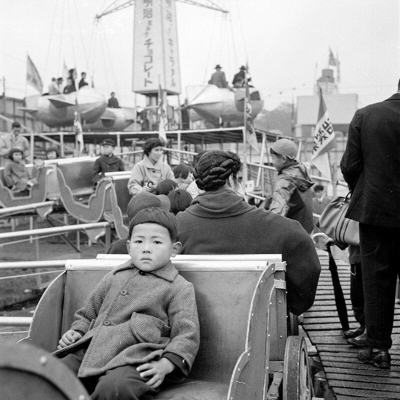 Boy on Amusement Park Ride, 1950s Japan