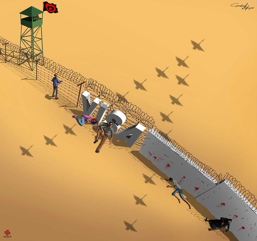 Супермаркет: сатирические иллюстрации о проблемах современного общество от Гундуза Агаева