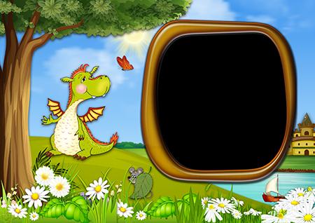 Рамка для фото с зеленым драконом и мышкой на лужайке около дерева рядом с рекой с корабликом