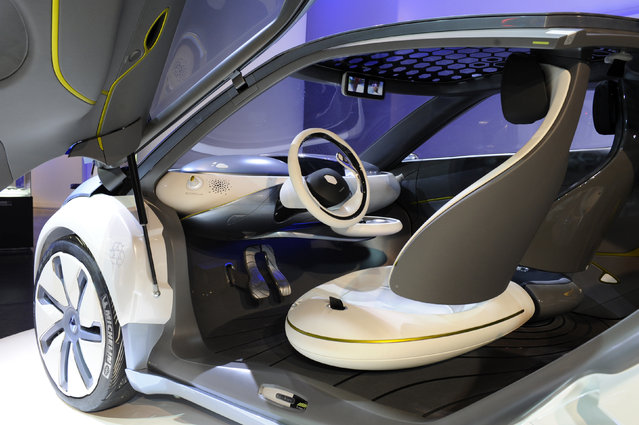 A Zoe Z.E. (Zero Emission) concept car is displayed during an exhibition of electric vehicle at the