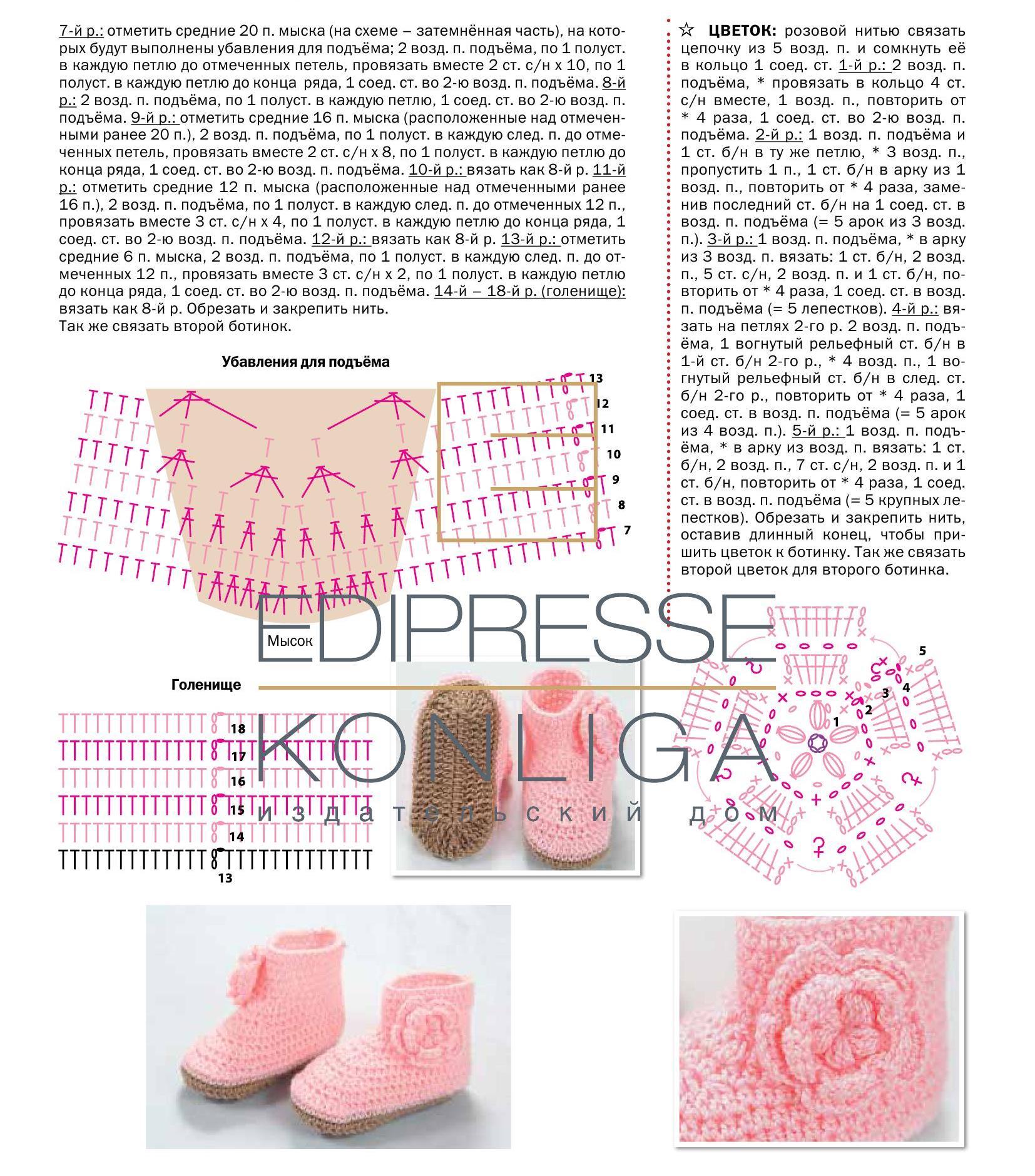 Вязаные сандали для малышей схемы крючком