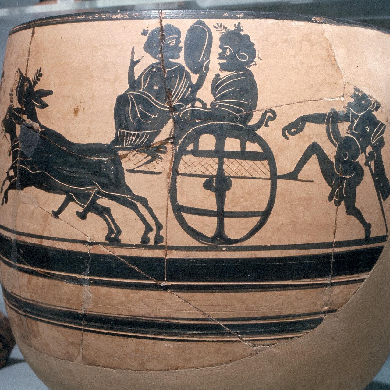Скифос с изображением мистерии кабиров из  Кабириона (святилище Кабиров) в Фивах, конец V века до н.э.