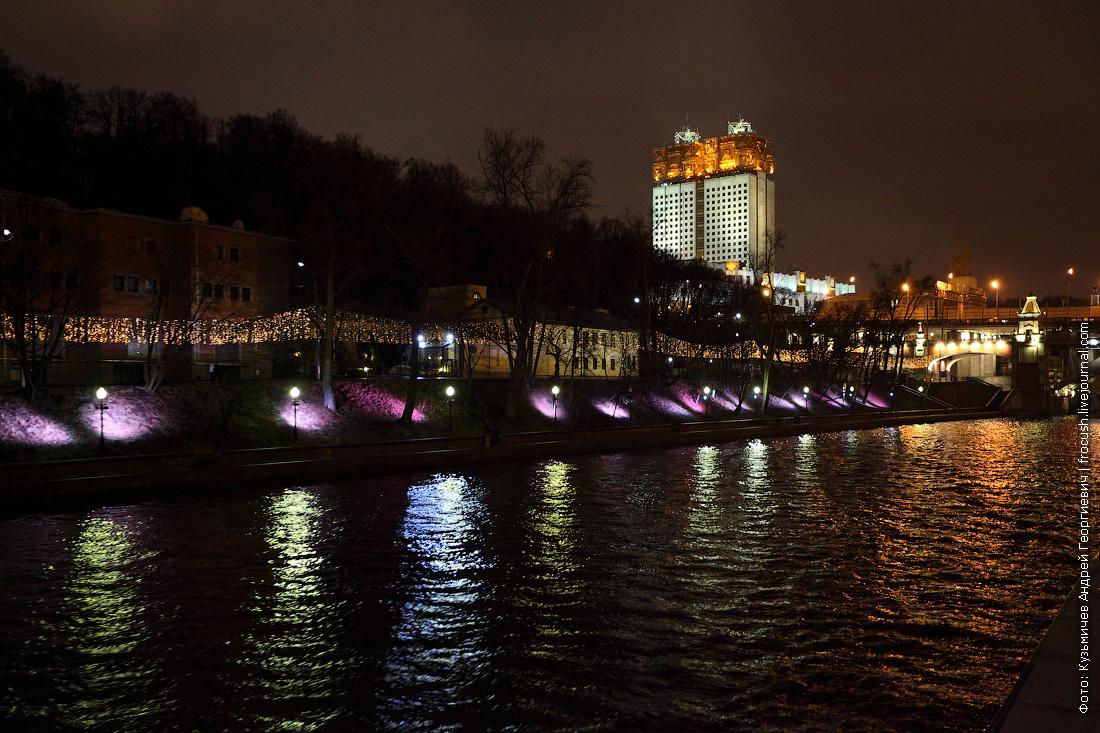 ночное фото Президиум Российской академии наук (РАН) и Нескучный сад