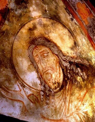 Деисис. Фреска церкви Святых Архангелов в Ипрари, Сванетия, Грузия. 1096 год. Иконописец Тевдоре (Феодор).