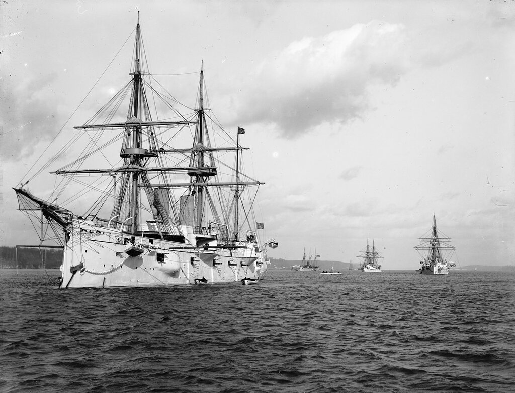 Squadron of the Evolution, 1889. Ships from left to right USS Chicago, USS Yorktown, USS Boston, and USS Atlanta.