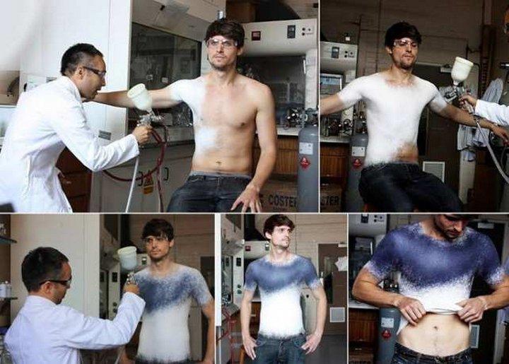 Испанский дизайнер Манел Торрес (Manel Torres) изобрел первую в мире спрей-одежду. Вы можете нанести