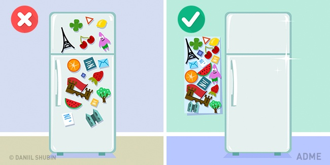 Магниты, облепляющие холодильник, вносят накухню визуальный сумбур. Для коллекционеров есть выход: