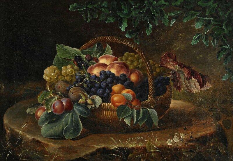 Натюрморт с фруктами в корзине