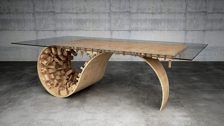 Inspired by a popular movie this limited edition dining table designed by Moussaris is a well balanc