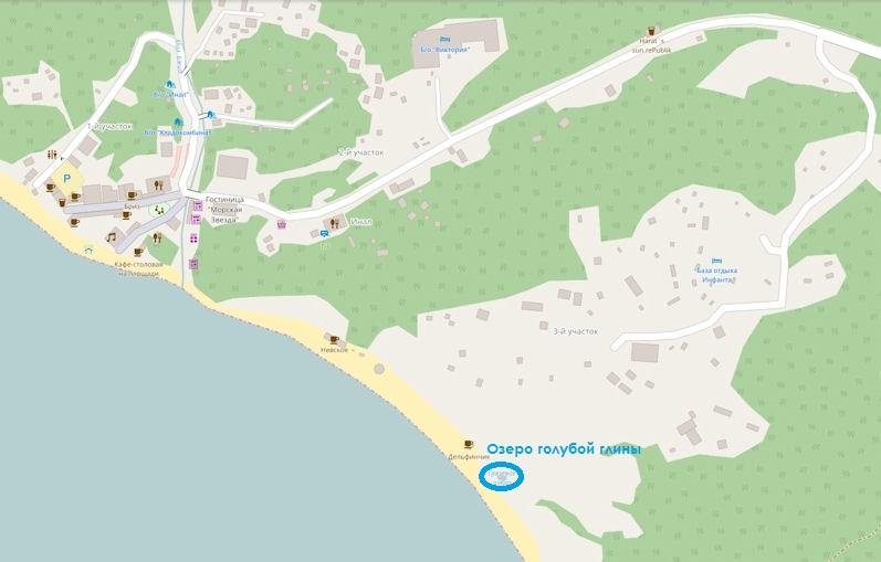 Озеро голубой глины в бухте Инал на карте