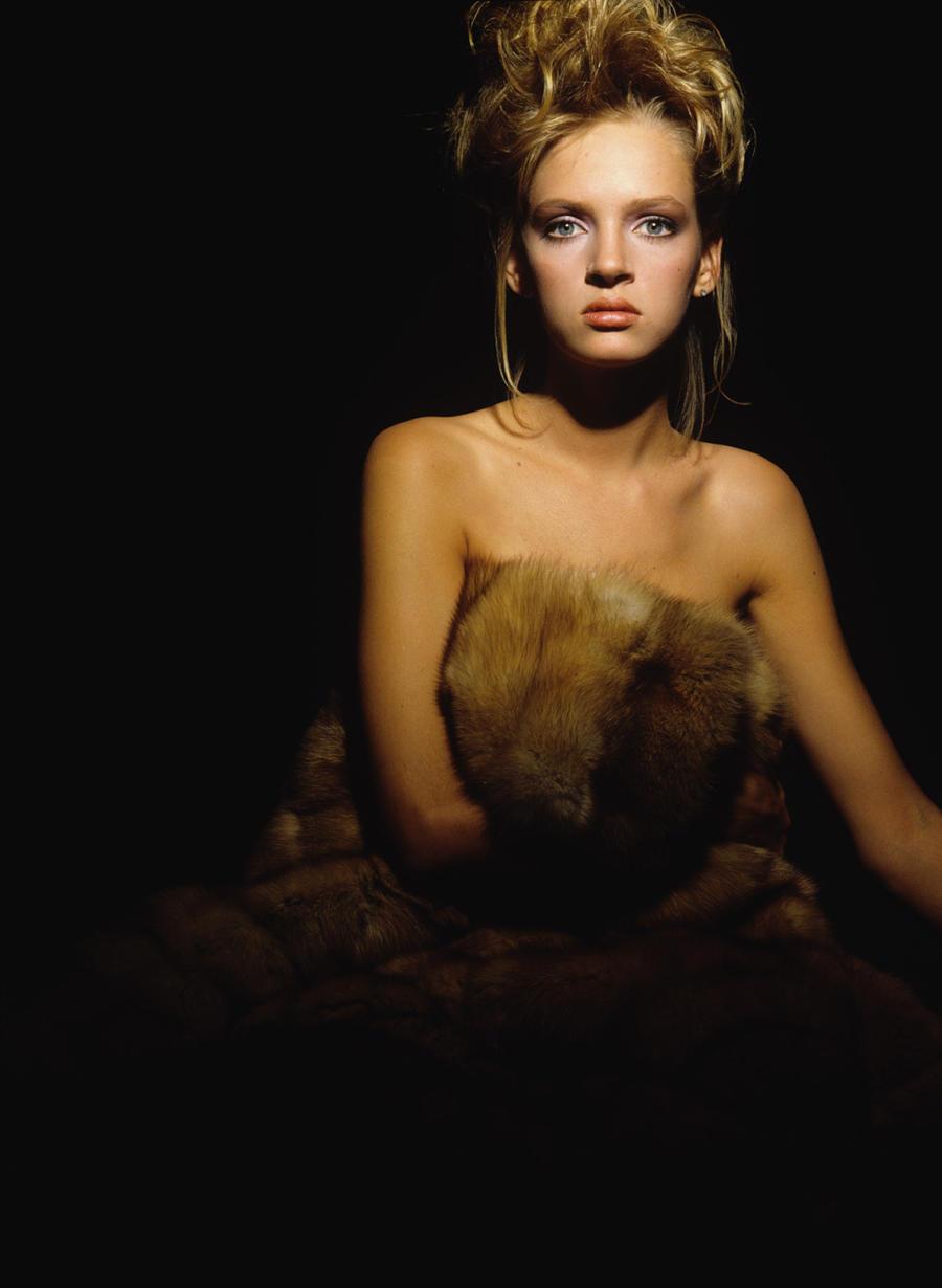 26.1985 год. Ума Турман в фотосессии Андреа Бланш для журнала Russh.